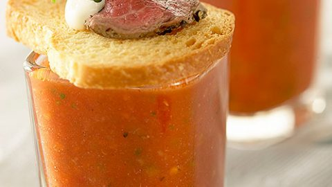 Gazpacho with Ontario Veal Tenderloin Crostini and Creme Fraiche
