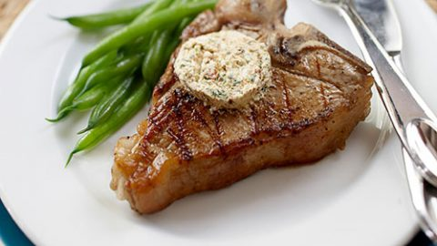 Grilled Veal Chops with Spicy Goat Cheese