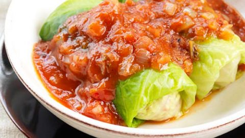 Smoky Veal Stuffed Cabbage Rolls with Roasted Tomato Sauce