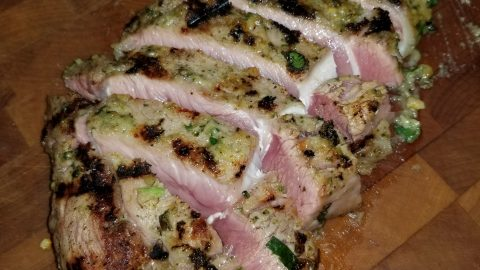 Parmesan Crusted Grilled Veal Rib Steaks with Amaretto Hazelnut Three Herb Pesto Cream Sauce