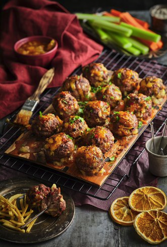 Plank Grilled Veal Meatballs with Chili Orange Glaze