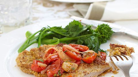 Cornmeal Crusted Veal Scaloppini with Roasted Tomato