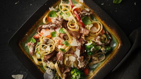 Fettuccine Primavera with Veal