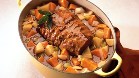 Maple Braised Veal Roast with Two Potatoes