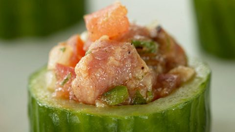 Seared Ontario Veal Striploin with Coriander Salsa in Cucumber Cups