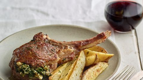 Spinach and Feta Stuffed Veal Chop