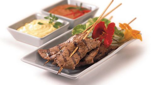 Veal Satay with Two Sauces