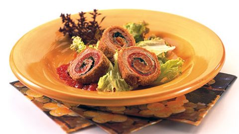 Roasted Red Pepper, Basil and Parmesan Veal Spirals