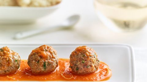 Veal Meatballs with Red Pepper & Tomato Sauce