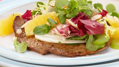Veal Scaloppini with Fennel, Radicchio and Citrus Salad